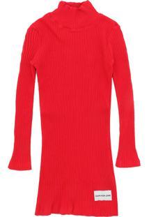 Vestido Calvin Klein Kids Liso Vermelho - Tricae