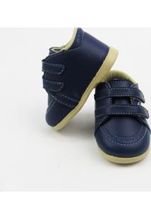 Sapato Bebê Masculino Azul Marinho Com Solado E Velcro-G - Masculino