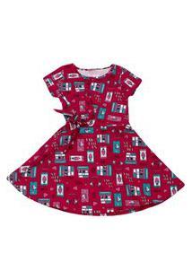 Vestido Com Amarração Frontal Estampado Duduka Vermelho