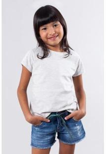 Camiseta Infantil Basica Lisa Reserva Mini Feminina - Feminino-Cinza