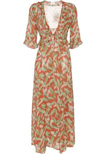 We Are Leone Robe Estampado 'Leaf' - Vermelho