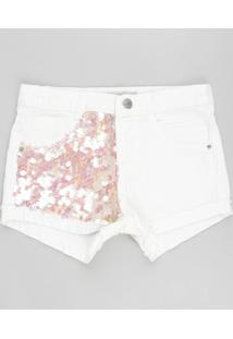 Short Color Infantil Com Paetês E Barra Dobrada Off White