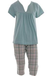 Pijama Pescador Em Malha Rmb Lingerie Xadrez Verde