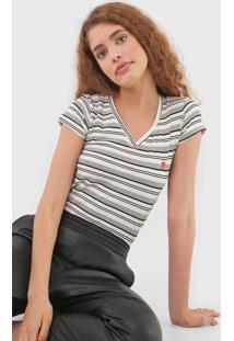 Camiseta Polo Wear Listrada Off-White