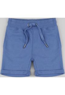 Bermuda Infantil Em Moletom Com Cordão E Bolsos Azul
