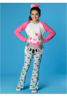 772c8c5c5 Pijama Infantil Puket Manga Longa Visco Coala Feminina -  Feminino-Branco+Azul