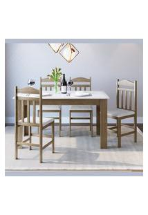 Conjunto Mesa Cozinha Com 4 Cadeiras Ameixa Negra E Branco