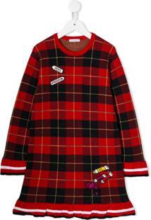 Dolce & Gabbana Kids Vestido Xadrez Com Patch - Vermelho