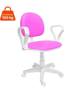 Cadeira De Escritório Secretária Mazikeen Ajustável Rosa E Branca