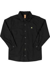 Camisa Manga Longa Em Tecido Preto