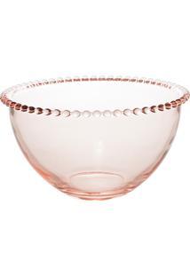 Saladeira Cristal Pearl Rosa 21X12Cm