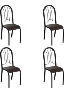 Conjunto Com 4 Cadeiras Hervey Tabaco E Preto