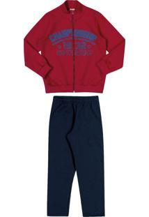 Conjunto Jaqueta + Calça Lecimar Kids Em Moletom Felpado Outono Inverno Vermelho Escuro