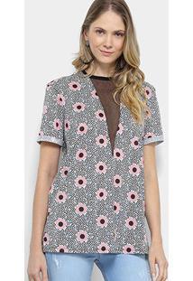 Camiseta My Favorite Thing (S) Estampada Floral Com Tule Feminina - Feminino-Colorido