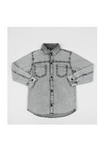 Camisa Jeans Infantil Com Bolsos Preta