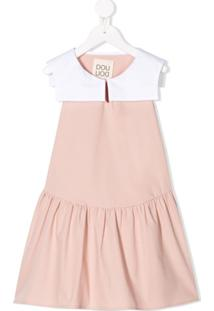 Douuod Kids Vestido Evasê Color Block - Rosa