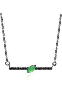 Colar Em Prata Com Ródio Negro Com Espinélio, Quartzo Verde