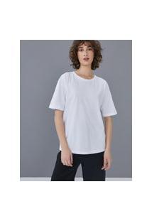 Amaro Feminino T-Shirt Oversized Estonada Gola Redonda, Branco
