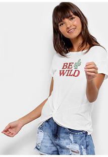 Camiseta Drezzup Be Wild Feminina - Feminino-Off White