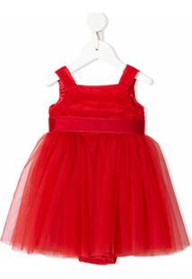 Dolce & Gabbana Kids Vestido De Festa Com Tule - Vermelho