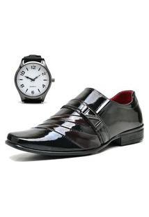Sapato Social Com Verniz Com Relógio New Dubuy 632Mr Vermelho