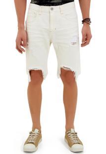 Bermuda John John Clássica Bodrum 3D Sarja Branco Masculina (Off White, 42)