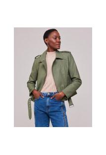 Amaro Feminino Jaqueta Leather Cinto Frontal, Verde Militar