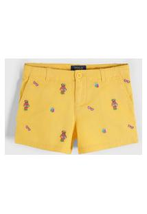Bermuda Sarja Polo Ralph Lauren Infantil Ursinhos Amarela