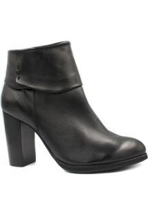 Bota Ankle Boot Zariff Shoes Couro Salto Alto Feminina - Feminino