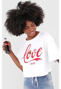 Camiseta Cropped Coca-Cola Jeans Love Branca - Branco - Feminino - Algodã£O - Dafiti