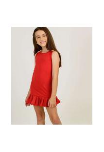 Vestido Infantil Sem Manga Laço Babado Tam 4 A 10