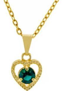 Gargantilha Horus Import Ponto Luz Coração Banhada Ouro 18K Feminina - Feminino-Dourado