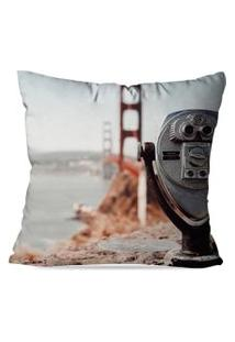 Capa De Almofada Avulsa Decorativa Retro Golden Gate 35X35Cm
