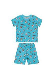 Pijama Rovitex Manga Curta E Bermuda Infantil Menino Azul