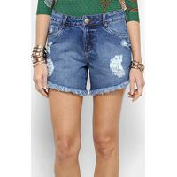 d80c7f9fb Shorts Jeans Morena Rosa Five Pockets Cintura Média Feminino - Feminino-Azul