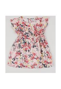 Vestido Infantil Estampado Floral Manga Curta Com Babado Rosa