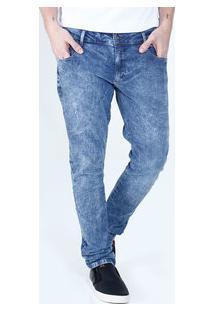 Calça Masculina Jeans Marmorizado Slim Marisa