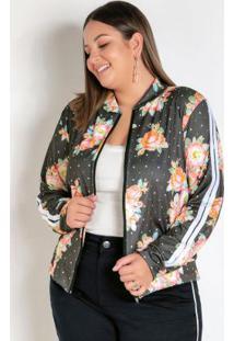 Jaqueta Floral E Poá Com Faixas Plus Size