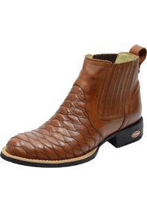 Botina Escamada Bico Redondo Atron Shoes 965 Couro Brandy