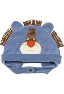 Touca Bebê Ano Zero Leãozinho Masculina - Masculino-Azul