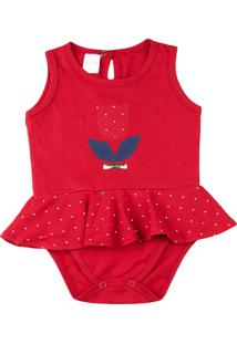Body Bebê Cotton Conforto Ano Zero Bordado De Tulipa Vermelho