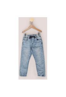 Calça Jeans Infantil Jogger Marmorizada Com Pences E Cordão Azul Claro