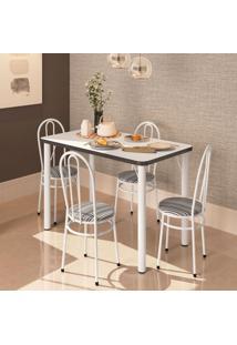Conjunto De Mesa De Cozinha Com 4 Lugares Roma Branco E Preto