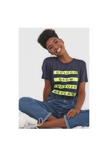 Camiseta Colcci Lettering Azul-Marinho