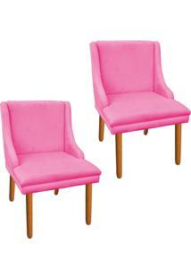 Kit 02 Cadeira Poltrona Decorativa Liz Suede Rosa Barbie - D'Rossi