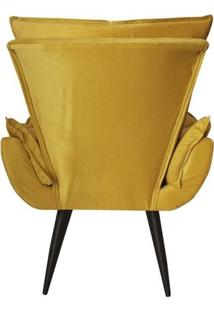 Kit 02 Poltronas Decorativas Emilia Plus Suede Amarelo Edecor