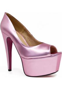 Sapato Zariff Shoes Peep Toe Meia Pata Festa - Feminino-Rosa