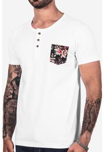 Camiseta Hermoso Compadre Henley Bolso Masculina - Masculino-Branco 64eca9ee32ed4