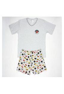 Pijama Curto Masculino Meia Malha Gola V Brezzi Estampa Football Cor Mescla