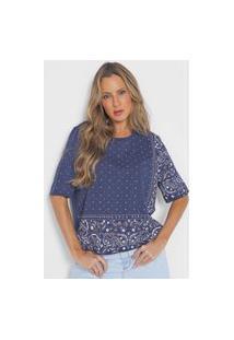 Camiseta Lança Perfume Arabescos Azul-Marinho
